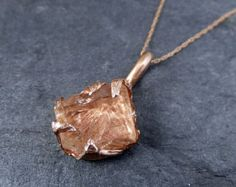 Raw Pink Tourmaline Rose Gold Pendant Necklace Rough by byAngeline