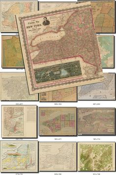 ANTIQUE MAPS-17 Collection of 105 large size images printable old ancient vintage USA New York American download 300 dpi High resolution           data-share-from=listing        >           <span class=etsy-icon
