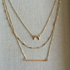 Like new Pixley Madrone Layered Charm Necklace 3 multi layered gold necklace. With a moon and bar charm. From a stitch fix box. Very trendy but also a classic. Pixley Jewelry Necklaces