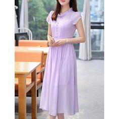 Stylish Women's Ruffle Collar High Waisted Chiffon Dress