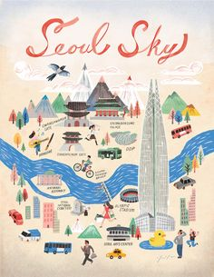 Seoul City (a poster of Seoul for promoting Lotte World Tower) Seoul Skyline, Seoul Map, Korea Map, Travel Doodles, City Sketch, Travel Illustration, Korean Illustration, Little Doodles, Travel Icon