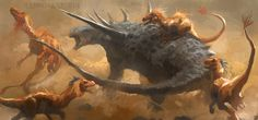 A pack of hungry Deinonychus attacks a Sauropelta (an armored dinosaur) out of desperation by Raph04art
