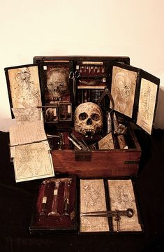 Vampire kit, perhaps in Pendergast's Cabinet of Curiosities Larp, Vampire Hunter, Witch Aesthetic, Vampires, Book Of Shadows, Art Plastique, Dracula, Macabre, Werewolf