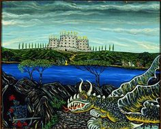 🐉We're hoping to see some #dragons on tonight's episode of Game of Thrones! What are you looking forward to?  Image: Dragon, Victor Joseph Gatto (1893–1965), New York, 1943, oil on canvas, 20 1/2 × 24 1/2 × 1 3/4 in., gift of Ken and Asa Miller, 1985.6.2. Photo by John Parnell.  #gameofthrones #dragon #drogon #Daenerys #Targaryen #painting #oilpainting #castle #fantasy