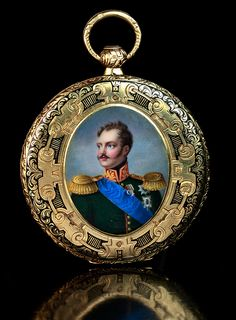 Antique gold and enamel pocket watch with painted enamel portrait miniature of Russian Czar Nicholas I, mid 19th century