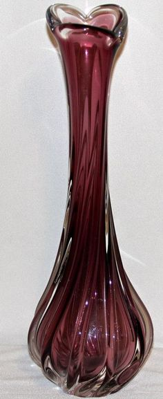 Rubin Glass Bohemian Amethyst Vase Mouth Blown Fluted Opening Czech Republic