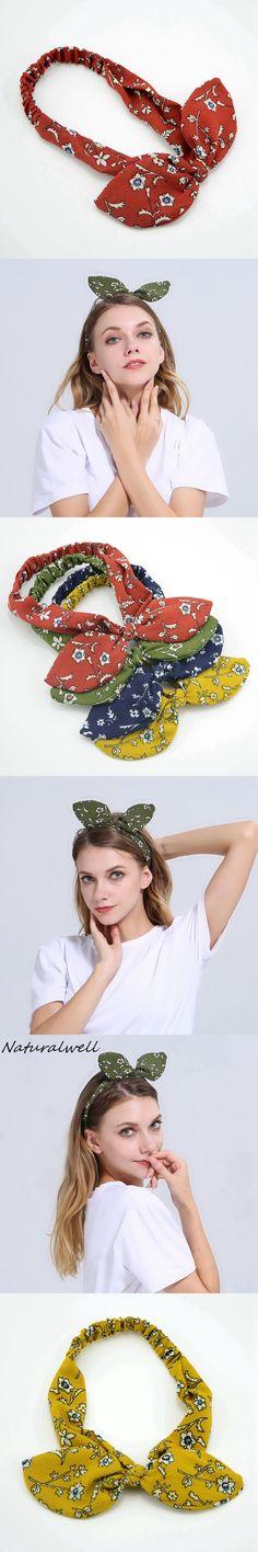 Naturalwell Fashion Retro Turban Headbands Women Summer chiffon Headband Head Wrap Wide Ear Hairband Hair Accessories WH028