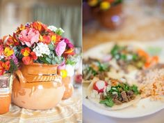 Using Mexican pottery for your wedding centerpieces. Charro Wedding, Latin Wedding, Mexican Themed Weddings, Hacienda Wedding, Quinceanera Party, Quinceanera Centerpieces, Mexican Party, Mexican Birthday, Deco Floral