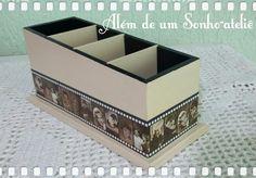Porta controle remoto em mdf com decoupage em papel.  Tema: Cinema antigo.  #artesanatomdf #decoupage #vintage #alemdeumsonhoatelie Visite: facebook.com/Alemdeumsonhoatelie