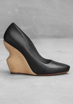 Leather and beech wood wedge   Black   & Other Stories