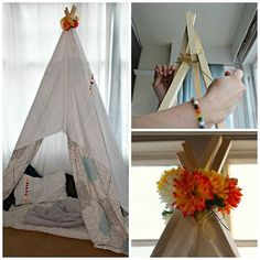 A little guide on how to make a teepee tent den, easy to build and kids love it for play or reading. Decorate with bunting, fairy lights and flowers.