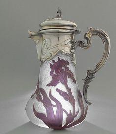 "Antique Cameo Art-Glass & Silver Claret Jug - ""Daum Nancy"" France 1900/Gorgeous Iris"
