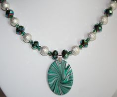 Green Crystal & Brushed Silver Beaded Pendant Necklace