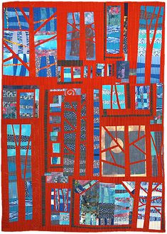 """""""Blues and Reds"""" by Helen Howes. Unify a patchwork by overlaying with a structure made of monotone colors. myb"""