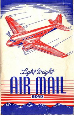 Vintage writing tablet cover ~ Airplane flying over mountains ~ public domain image.