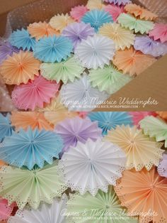 6 pieces 4 inches rainbow dollies edge trimmed paper fans/rosettes -- Wedding/Party/Props/Pinwheels/ | Agnes & Maurice - A Global Online Marketplace