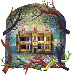 """""""Felbrigg Hall"""" by Ed Kluz (approx. x Coloured paper collage with gouache and gum arabic Coloured paper collage with gouache and gum arabic Chris Brown Art, Collage Techniques, Digital Illustration, Building Illustration, Graphic Illustration, Colored Paper, Travel Posters, Altered Art, Printmaking"""