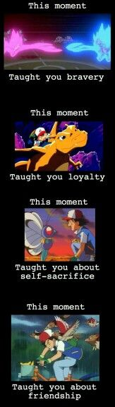 Bravery, loyalty, self-sacrifice, friendship, text, Ash Ketchum, Mew, Mewtwo, Charizard, Butterfree, Pikachu; Pokemon