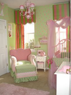 I love the pink and green scheme it was the colors for Brandon and I's wedding and to be able to do our daughters room in it when we have one would be awesome