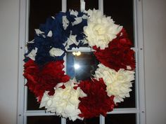 American Flag Fabric Wreath 14 inch by Loveandstripes on Etsy, $30.00