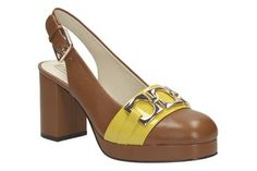 Womens Smart Shoes - Orla Beatrice in Tan Combi Leather from Clarks shoes Orla Kiely Shoes, Mid Heel Shoes, Heels, New Shoes, Shoes Online, Clarks, Wedge Sandals, Casual Shoes, Peep Toe