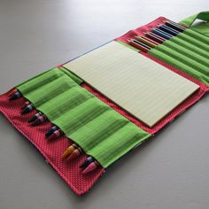Crayon, Colored Pencil, and Paper Wallet - Thomas the Train, Green, and Red Sewing Crafts, Sewing Projects, Pencil And Paper, Thomas The Train, Glow Sticks, Colored Pencils, Crafts For Kids, Crafting, Fabric