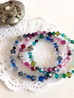 Swarovski Stretch Bracelet// Rainbow Crystal Bracelet// Blue Pink Green on Etsy, $35.00