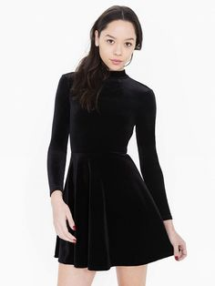 American Apparel Velvet Violette Skater Dress in Black