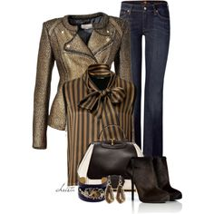 Polyvore I would like to see this with black denim or a darker rinse, As you age jeans are great but make them dark rinse or black or some dark color