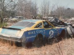 Dale Earnhardt - 1980 Busch Clash winner, Hard to believe this car wound up in the weeds. But maybe not with cars rolled out in 1981 and Earnhardt leaving the team once Osterlund sold to Stacy. Memory Lane Museum May 2013 Nascar Race Cars, Old Race Cars, Dale Earnhardt Crash, Earnhardt Jr, Real Racing, Auto Racing, Dirt Racing, Car Barn, Rusty Cars