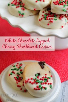 White Chocolate Dipped Cherry Shortbread Cookies by Carrie Robinson