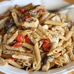 Penne with Roasted Tomatoes, Chicken, and Mushrooms
