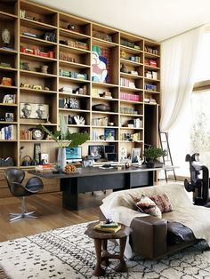 full wall open bookcase, built-in library wall