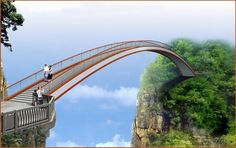 swallow flying pedestrian bridge in Shennongjia ( in the northwestern Hubei province, People's Republic of China) . Don't know if I could cross that bridge or not. Looks pretty high up! Scary Bridges, Love Bridge, Image Nature, Bridge Design, Scary Places, Pedestrian Bridge, In China, Covered Bridges, Architecture