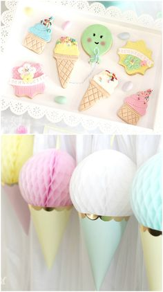 Upside down party hats and honeycomb tissue paper balls make the perfect Ice Cream Party decor