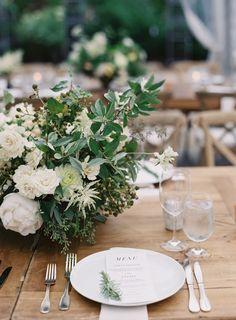 Modern rustic wedding table decor: http://www.stylemepretty.com/2017/02/01/greenery-filled-new-york-wedding/ Photography: Judy Pak - http://judypak.com/