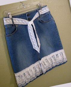 Отделка джинс с кружевом