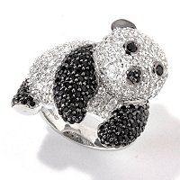 Gem Treasures Sterling Silver 4.08ctw Black Spinel & White Zircon Panda Ring ShopNBC.com