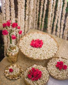 Great Love this floral Decor with prinstine white and red ….perfect for Mehendi The post Love this floral Decor with prinstine white and red ….perfect for Mehendi … ap . Desi Wedding Decor, Wedding Stage Decorations, Wedding Mandap, Diwali Decorations, Flower Decorations, Wedding Ideas, Ethnic Wedding, Wedding Receptions, Trendy Wedding