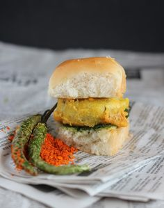 Vada Pav: Potato fritter sandwiched in soft and buttery buns and two different relishes. Popular street food from India