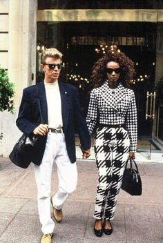 """3 awesome facts about David Bowie will remind us why he is David Bowie. For example, David's stand out style created """"glam rock. David Jones, 90s Models, Fashion Models, Iman And David Bowie, Iman Bowie, Looks Style, My Style, Celeb Style, Mode Lookbook"""
