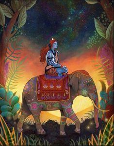 This is no beautiful Shiva Art, Shiva Shakti, Krishna Art, Hindu Art, Kali Hindu, Ganesha, Shiva Meditation, Phad Painting, Elefante Hindu