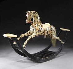 English Painted Rocking Horse, First half of 19th century and it's pricey....great scott!