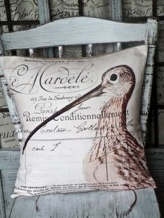 Pillow Coverthe Seabird by JolieMarche on Etsy, $35.00