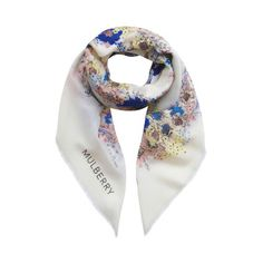 Marvellous Mulberry Gifts - Large Wool Silk Square in Cream Caged Floral Print