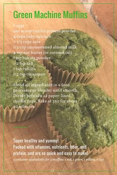 Green Machine Muffins! 21 Day Fix 80 Day Obsession Healthy Clean Eating Quick and Easy