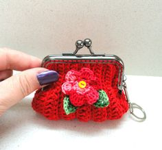 Supplies accessories red crocheted small coins purse by artefyk, $18.90