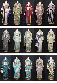 A lovely group, varied kimono Japanese Textiles, Japanese Prints, Japanese Outfits, Japanese Fashion, Traditional Japanese Kimono, Japan Outfit, Kimono Japan, Kimono Design, Japanese Costume