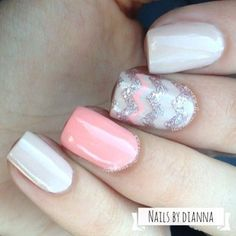 Sweet pearly white, pink & silver nails with chevron stripe accent nail #nailart