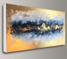 Optimistic Gold & Blue acrylic painting abstract on stretched canvas frame. its original handmade painting artwork made by me. you can choose different paintings sizes in menu. this wide art is my best selling painting and my customers absolutely love it! its comes stretched on inside wood